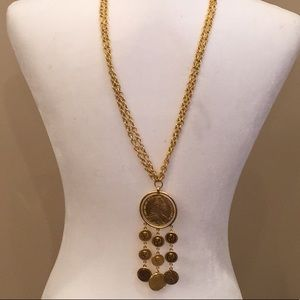 Jewelry - NWT Gold Plated Double Chain Necklace with Coins